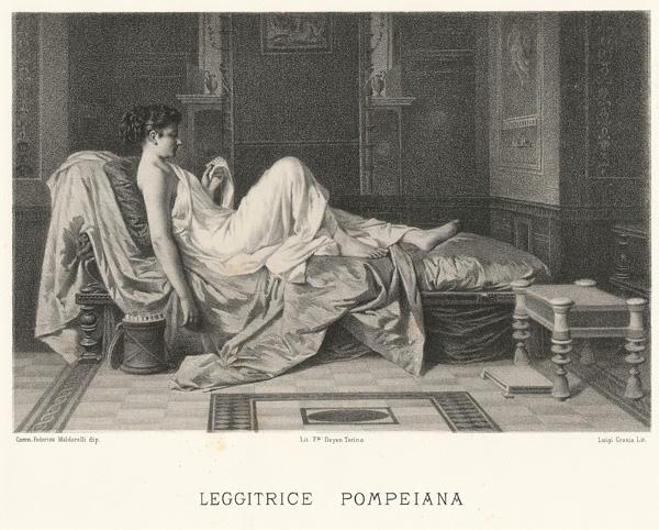 Luigi CROSIO (Acqui, 1835 – 1915) – LEGGITRICE POMPEIANA da F. Maldarelli