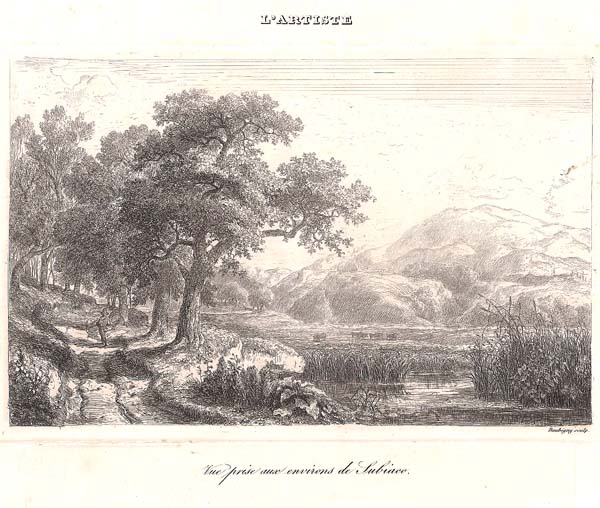 Charles-François DAUBIGNY (Francia, 1817 – 1878) – VUE PRISE AUX ENVIRONS DE SUBIACO (1840)
