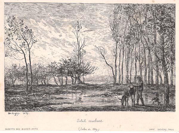 Charles-François DAUBIGNY (Francia, 1817 – 1878) – SOLEIL COUCHANT (1859)