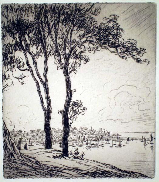 Andrè DAUCHEZ (Francia, 1870 – 1943) – AU-DESSUS DU PORT DE DOUARNENEZ