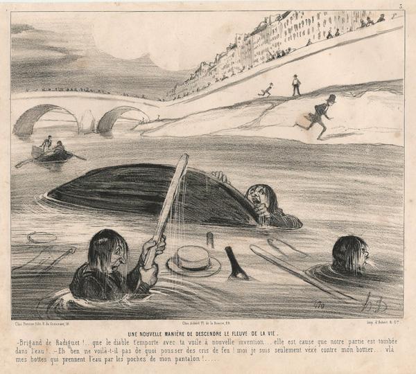 Honoré DAUMIER (Francia, 1808 – 1879) – UNE NOUVELLE MANIERE DE DESCENDRE LE FLEUVE DE LA VIE (1843