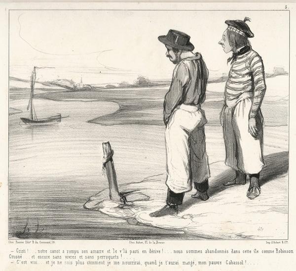Honoré DAUMIER (Francia, 1808 – 1879) – CRISTI!… NOTRE CANOT A ROMPU… (1843)