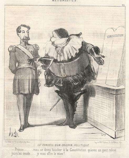Honoré DAUMIER (Francia, 1808 – 1879) – LE CONSEIL D'UN CRISPIN POLITIQUE