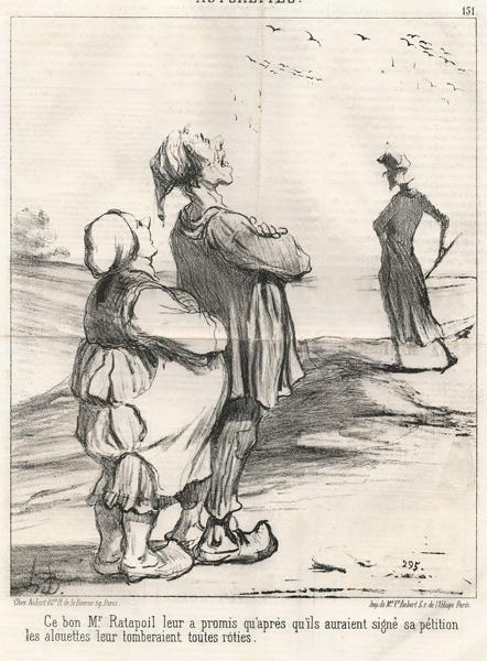 Honoré DAUMIER (Francia, 1808 – 1879) – CE BON Mr RATAPOIL LEUR A PROMIS…