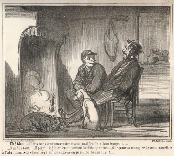 Honoré DAUMIER (Francia, 1808 – 1879) – EH! BIEN… ALLONS-NOUS CONTINUER NOTRE CHASSE…