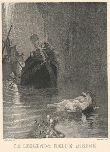 Francesco DI BARTOLO (Catania, 1826 – ?) – LA LEGGENDA DELLE SIRENE da E. Dalbono (1860 circa)