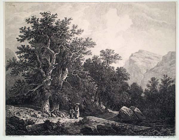 Francois DIDAY (Svizzera, 1802 – 1877) – PAESAGGIO CON VIANDANTI