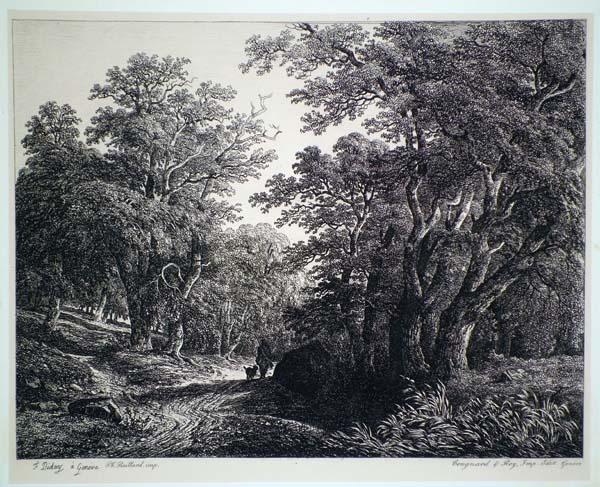 Francois DIDAY (Svizzera, 1802 – 1877) – PAESAGGIO CON CACCIATORE E CANE
