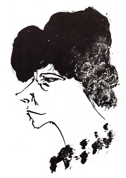 Otto DIX (Germania, 1891 – 1969) – FRAUENKOPF IM PROFIL (1966)