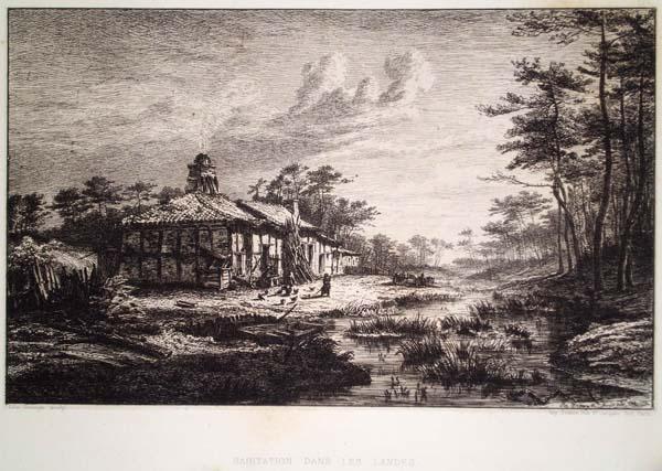 François Joseph Léo DROUYN (Francia, 1816 – 1896) – HABITATION DANS LES LANDES (1864)