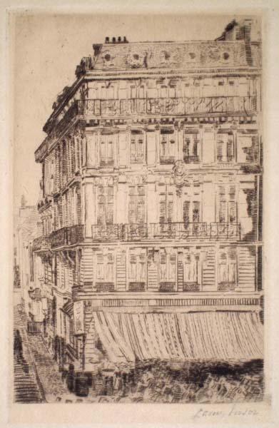 James ENSOR (Belgio, 1860 – 1949) – MAISON DU BOULEVARD ANSPACH (1888)