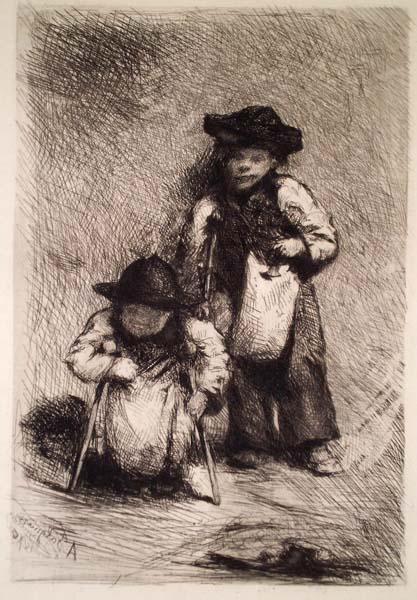 Alexandre FALGUIERE (Francia, 1831 – 1900) – DEUX IDIOTS MENDIANTS À GRENADE