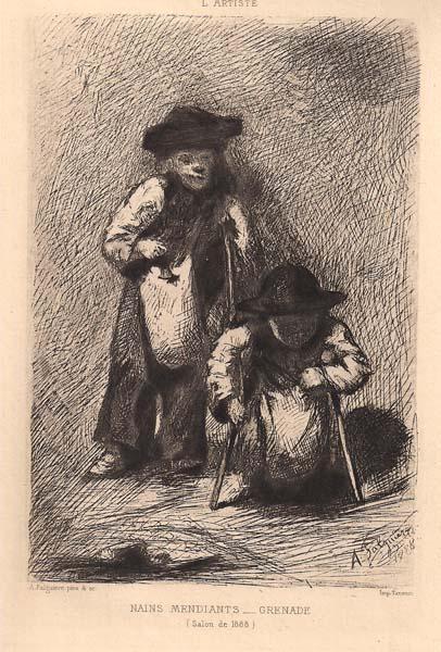 Alexandre FALGUIERE (Francia, 1831 – 1900) – NAINS MENDIANTS – GRENADE (1888)