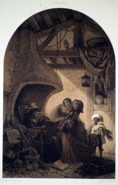 François Forteine Antoine FEROGIO  (Francia, 1805 – 1888) – LA DISEUSE DE BONNE AVENTURE