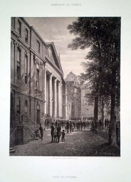 Antonio FONTANESI (Reggio Emilia, 1818 – Torino, 1882) – COUR DE ST. PIERRE
