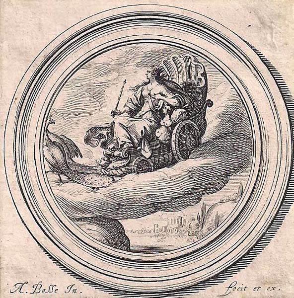 Abraham BOSSE (Francia, 1602 – 1676) – GIUNONE SU UN CARRO TRAINATO DA PAVONI