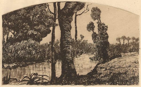 Pietro Antonio GARIAZZO (Torino, 1879 – 1964) – PAESAGGIO FLUVIALE