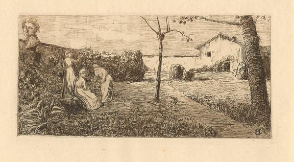 Pietro Antonio GARIAZZO (Torino, 1879 – 1964) – PAESAGGIO CON TRE FIGURE FEMMINILI
