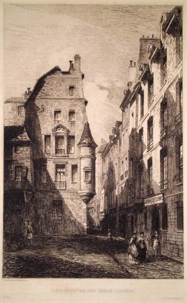 Léon GAUCHEREL (Francia, 1816 – 1886) – LA RUE DES PRETRES SAINT-GERMAIN L'AUXERROIS