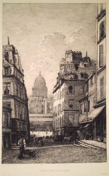 Lucien GAUTIER (Francia, 1850 – 1925) – LA RUE DU HAUT PAVE' A' PARIS