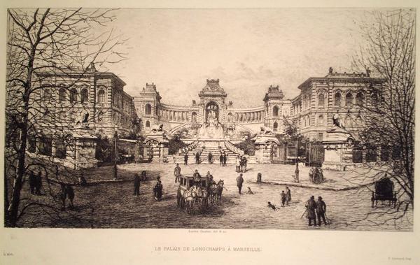 Lucien GAUTIER (Francia, 1850 – 1925) – LE PALAIS DE LONGCHAMPS À MARSEILLE