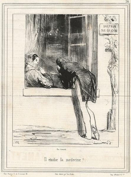 Paul GAVARNI  (Francia, 1804 – 1866) – IL ETUDIE LA MEDECINE!