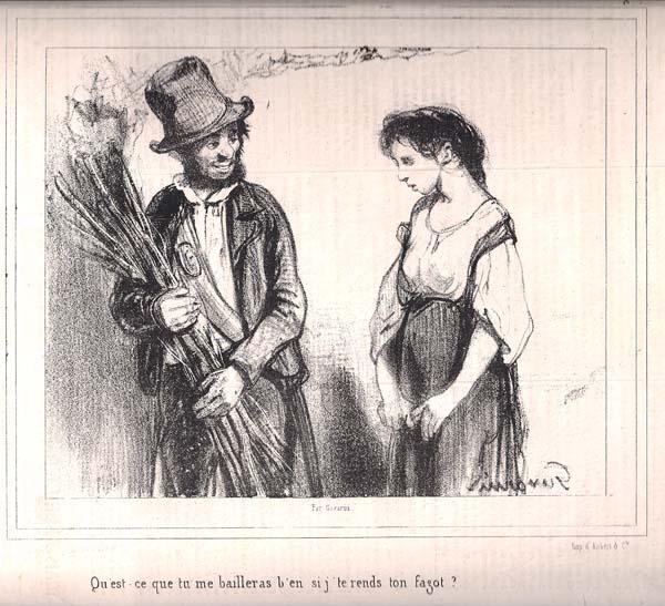 Paul GAVARNI  (Francia, 1804 – 1866) – QU'EST-CE QUE TU ME BAILLERAS…