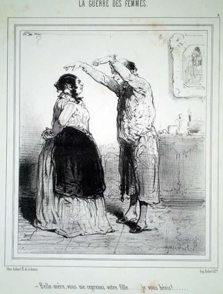 Paul GAVARNI  (Francia, 1804 – 1866) – BELLE-MERE, VOUS ME REPRENEZ VOTRE FILLE…