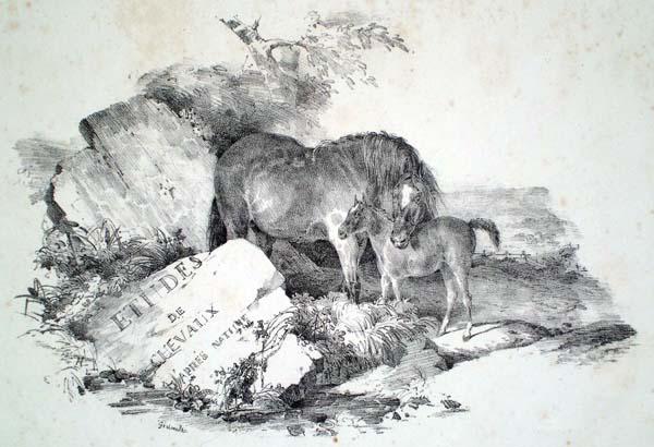 Théodore GERICAULT (Francia, 1791 – 1824) – JUMENT LA TETE APPUYE' SUR LE DOS DE SON POULAIN (1822)
