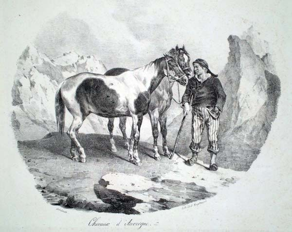 Théodore GERICAULT (Francia, 1791 – 1824) – CHEVAUX D'AUVERGNE (1822)