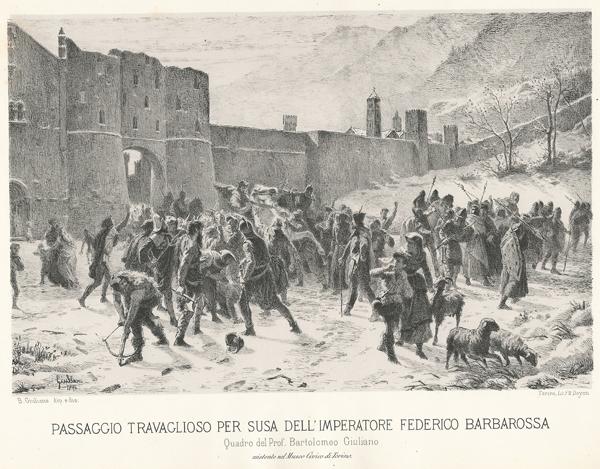 PASSAGGIO TRAVAGLIOSO PER SUSA DELL'IMPERATORE FEDERICO BARBAROSSA