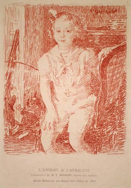 François-Joseph GUIGUET (Francia, 1860 – 1937) – L'ENFANT À L'ARBALETE