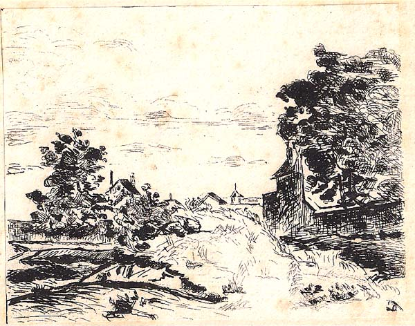 Jean GUILLAUMIN (Francia, 1841 – 1927) – ENTRE' DU VILLAGE