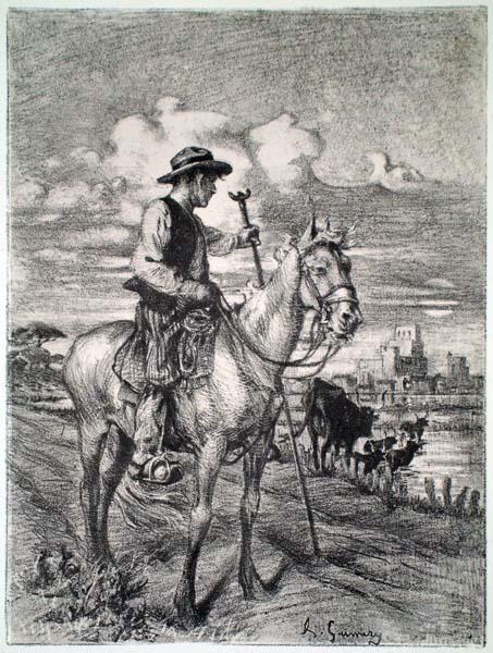 Adolphe Ernest GUMERY (Francia, 1861 – 1943) – PASTORE A CAVALLO