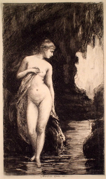 Jules-Armand HANRIOT (Francia, 1853 – 1921) – NYMPHE AU BAIN