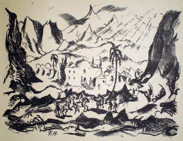 Franz HECKENDORF (Germania, 1888 – 1962) – ORIENTALISCHE LANDSCHAFT
