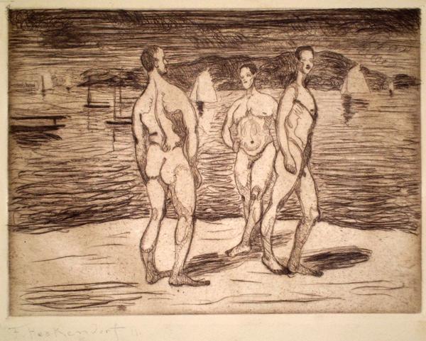 Franz HECKENDORF (Germania, 1888 – 1962) – DREI MANNER AM BADESTRAND (1911)