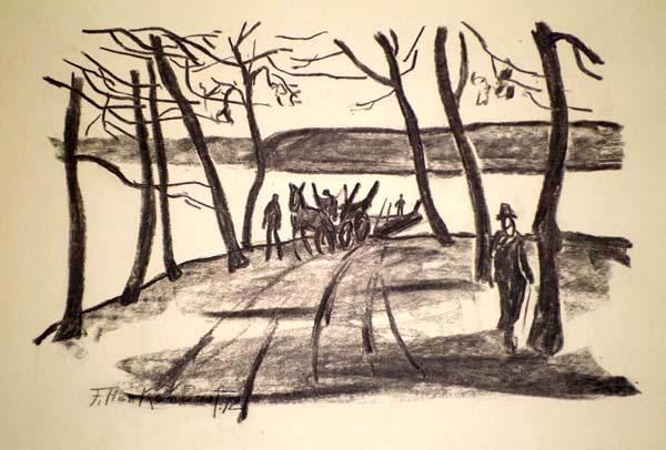Franz HECKENDORF (Germania, 1888 – 1962) – PFERDEWAGEN AM SEE