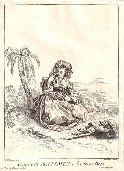 François BOUCHER (Francia, 1703 – 1770) – FEMME DE MATSMEY A LA TERRE D'ECO
