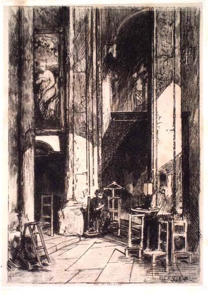 Louis Adolphe HERVIER (Francia, 1818 – 1879) – INTERIEUR D'EGLISE