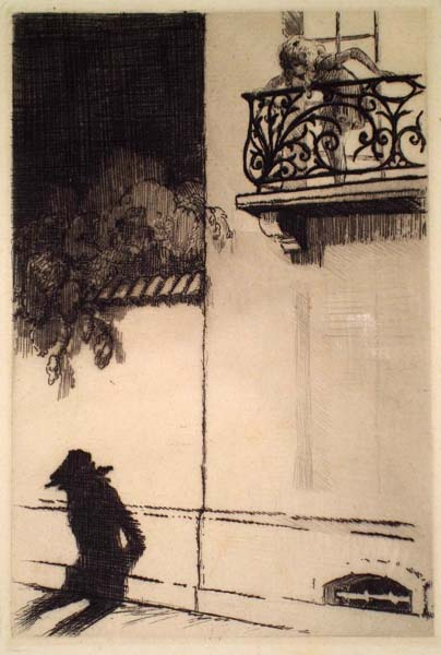 Louis ICART (Francia, 1888 – 1950) – AL BALCONE