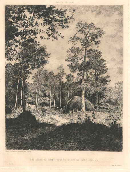 Marie Ferdinand JACOMIN (Francia, 1837 – 1880) – UNE HUTTE AU GRAND TERRIER-FORET DE SAINT-GERMAIN