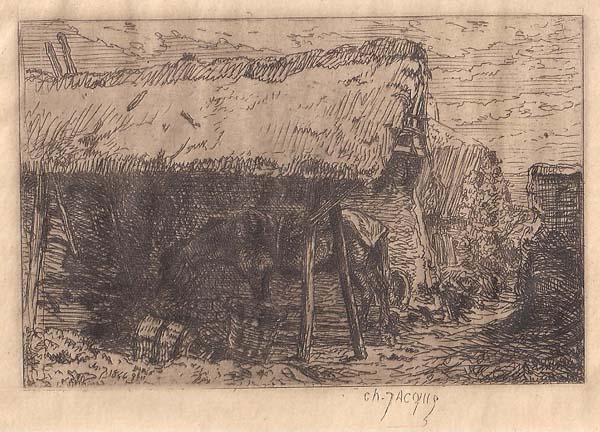 Charles JACQUE (Francia, 1813 – 1894) – CAVALLO SOTTO UNA TETTOIA (1844)