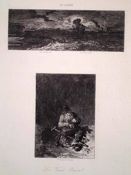 Charles JACQUE (Francia, 1813 – 1894) – LE VIEUX PAUVRE e PAYSAGE da Marvy