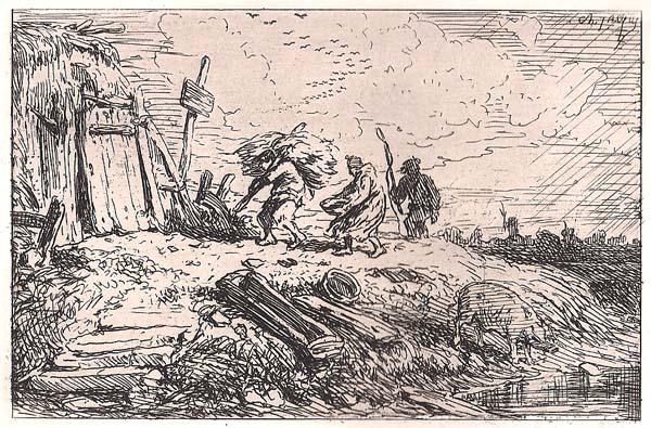Charles JACQUE (Francia, 1813 – 1894) – LA PIOGGIA