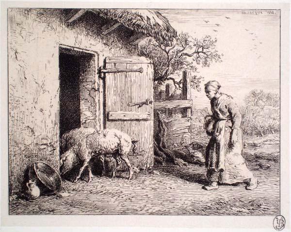 Charles JACQUE (Francia, 1813 – 1894) – INGRESSO DEL PORCILE (1848)