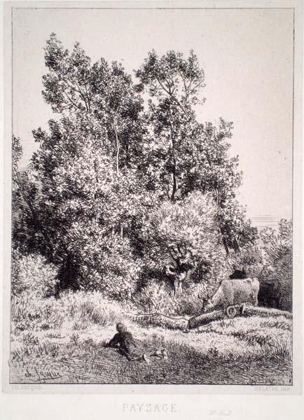 Charles JACQUE (Francia, 1813 – 1894) – PAYSAGE (1864)