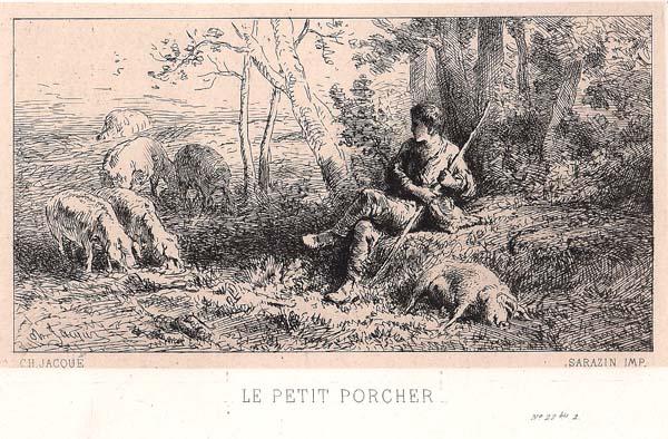 Charles JACQUE (Francia, 1813 – 1894) – LE PETIT PORCHER (1864)