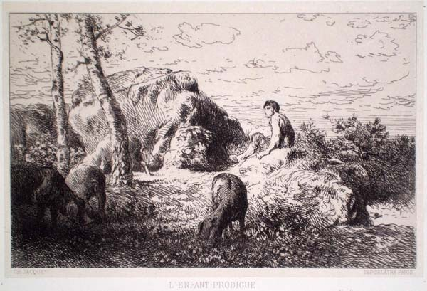 Charles JACQUE (Francia, 1813 – 1894) – L'ENFANT PRODIGUE (1866)