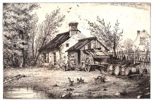 Léon JACQUE (Francia, 1828 – ?) – FATTORIA (1862)